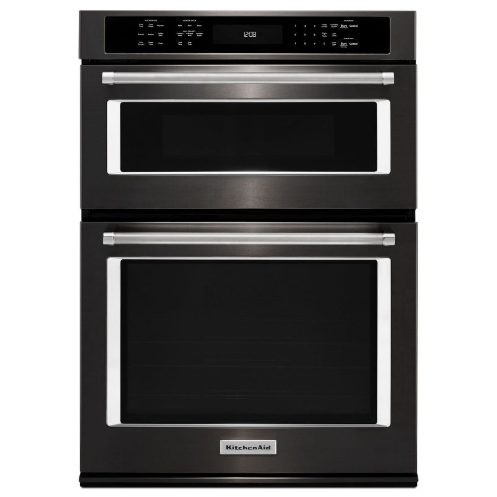 KitchenAid 30-inch 5.0 cu. ft. Double Electric Wall Oven Self-Cleaning with Convection in Black Stainless Steel