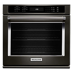 KitchenAid 30-inch 5.0 cu. ft. Single Electric Wall Oven Self-Cleaning with Convection in Black Stainless Steel