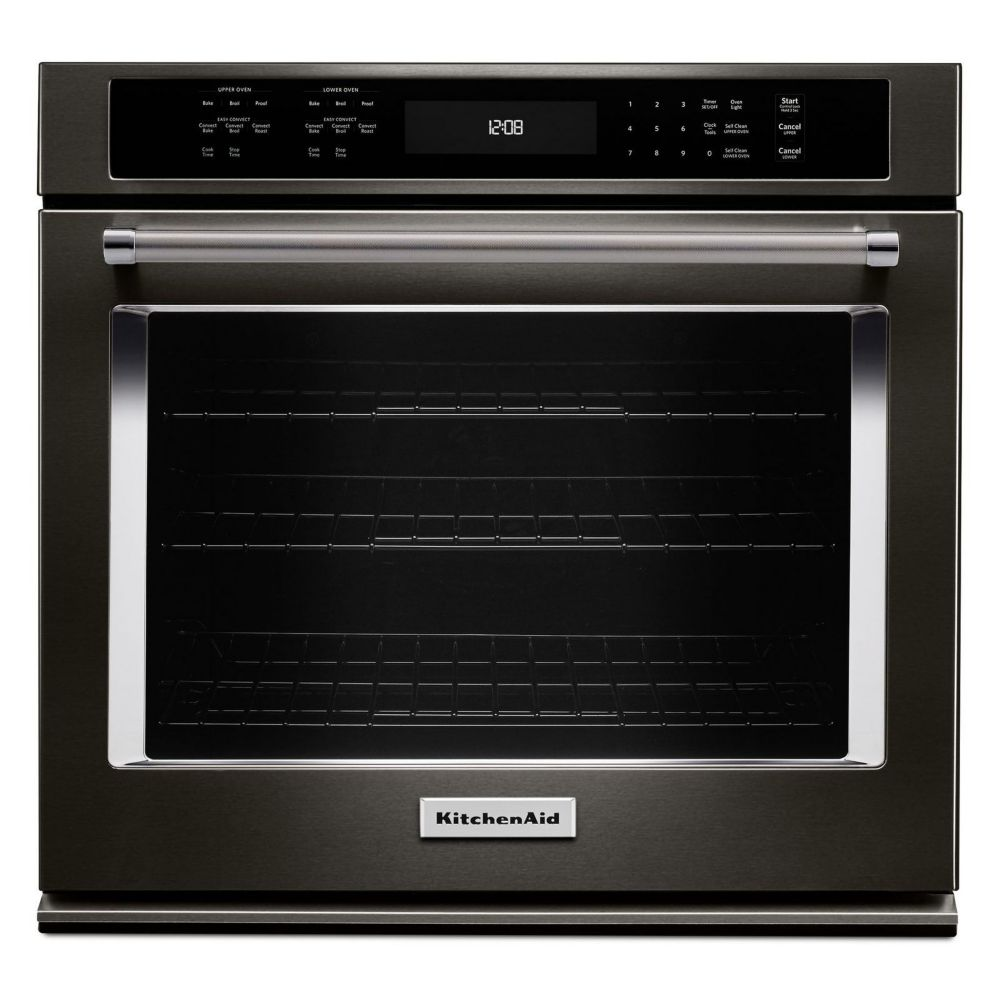 5.0 cu. ft. Electric Single Wall Oven with Even-Heat True Convection in Black Stainless Steel