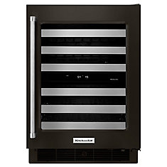 Black Stainless, 24 Inch Wine Cellar With Glass Door And Metal-Front Racks