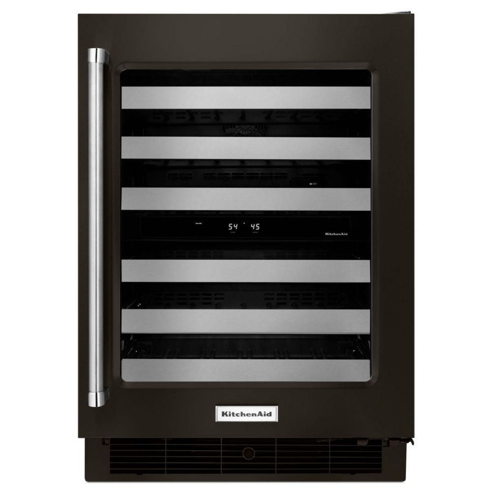 KitchenAid Black Stainless, 24 Inch Wine Cellar With Glass Door And Metal-Front Racks