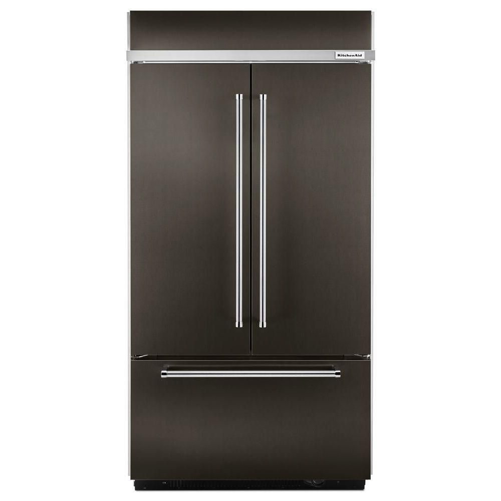 KitchenAid 24.2 cu. ft. Built-In French Door Refrigerator with Platinum Interior Design in Black Stainless Steel - ENERGY STAR®
