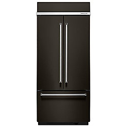 KitchenAid 36-inch W 20.8 cu. ft. Built-In French Door Refrigerator in Black Stainless Steel with Platinum Interior