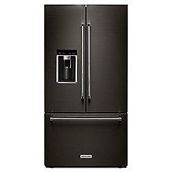 KitchenAid 36-inch W 23.8 cu. ft. French Door Refrigerator in Black Stainless Steel with Platinum Interior, Counter Depth