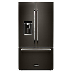 36-inch W 23.8 cu. ft. French Door Refrigerator in Black Stainless Steel with Platinum Interior, Counter Depth