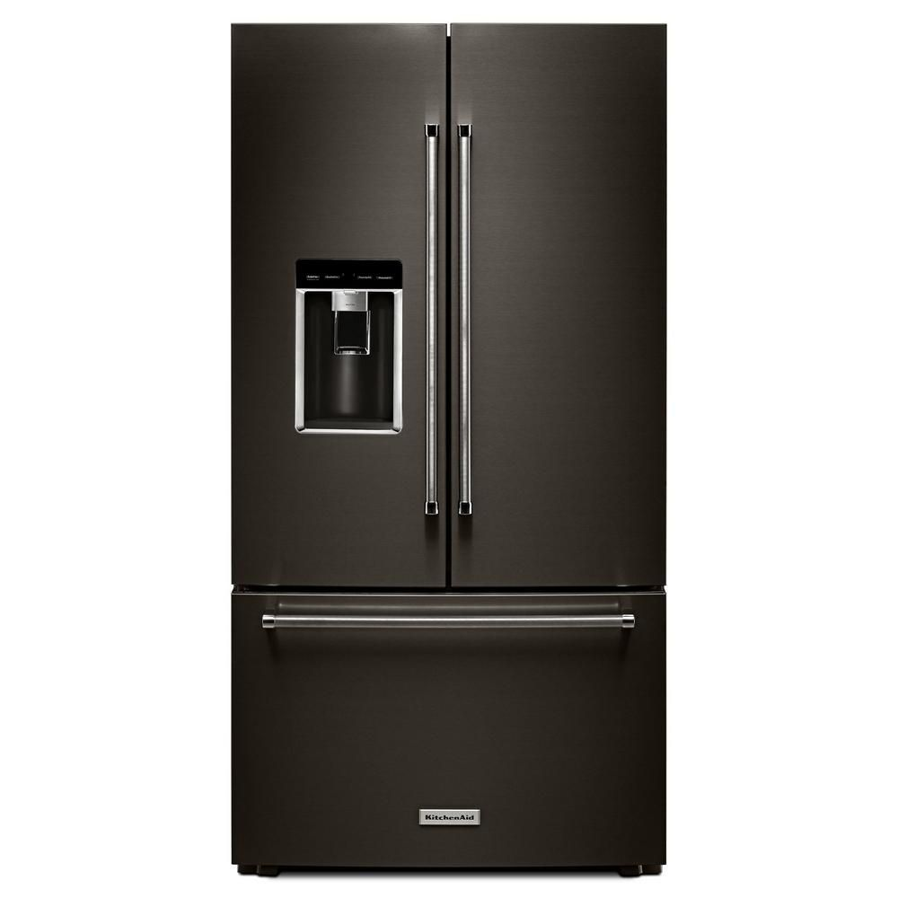 KitchenAid Black Stainless, 23.8 Cu. Feet 36 Inch Counter-Depth French Door Platinum Interior Refrigerator