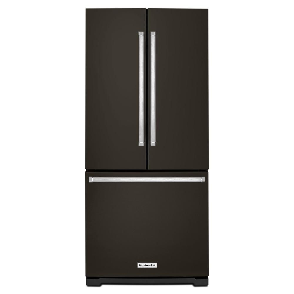 KitchenAid 30-inch W 20 cu.ft. French Door Refrigerator in Black Stainless Steel