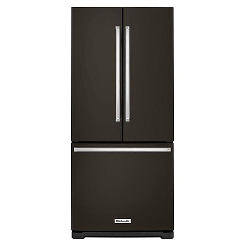 KitchenAid 30-inch W 20 cu.ft. French Door Refrigerator in Black Stainless Steel