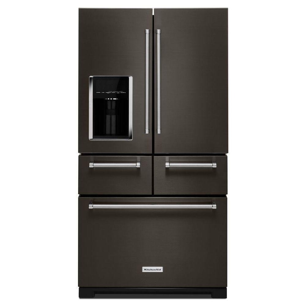 36-inch W 25.8 cu.ft. French Door Refrigerator in Black Stainless Steel