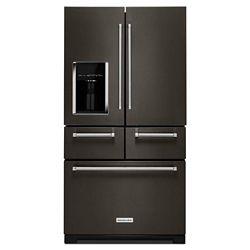 KitchenAid 36-inch W 25.8 cu. ft. Multi-Door French Door Refrigerator in Black Stainless Steel with Platinum Interior