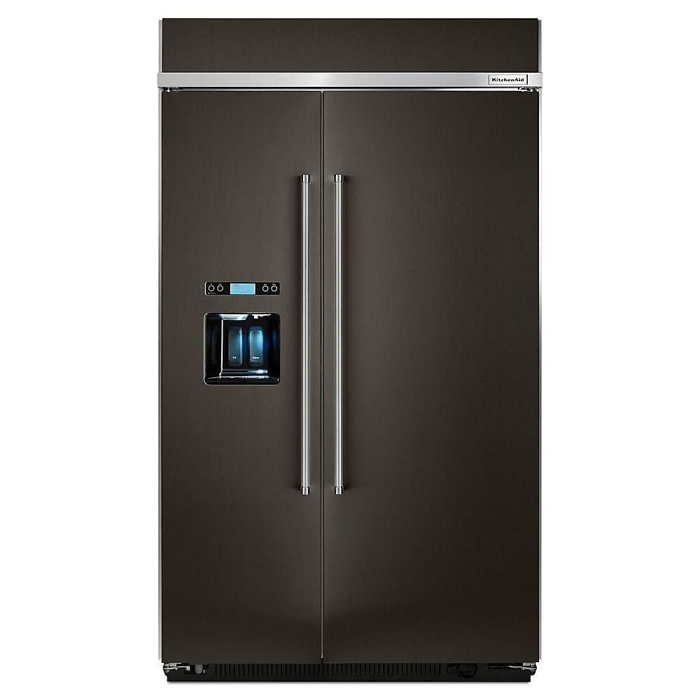 48-inch 29 5 cu  ft  Built-In Side-By-Side Refrigerator in Black Stainless  Steel - ENERGY STAR®