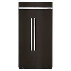 KitchenAid 42-inch 25.5 cu. ft. Built-In Side-by-Side Refrigerator in Black Stainless Steel