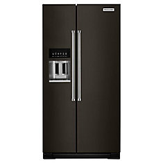 36-inch W 22.7 cu. ft. Side By Side Refrigerator in Black Stainless Steel, Counter Depth