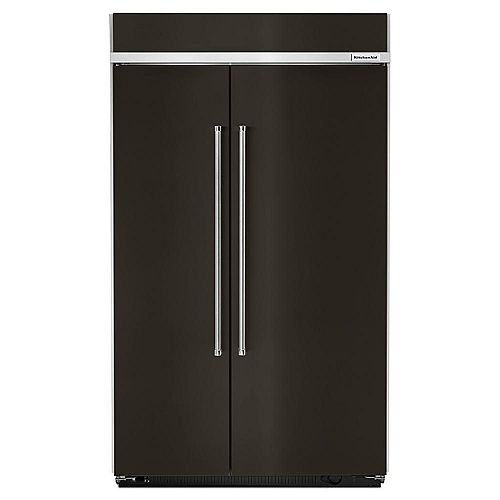 KitchenAid 48-inch W 30 cu. ft. Built-In Side By Side Refrigerator in Black Stainless Steel