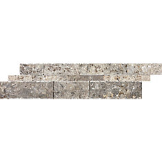6-inch x 24-inch Silver Grey Travertine Split Face Panels