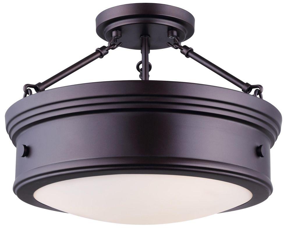 Boku 3 light oil rubbed bronze semi flush mount light fixture with flat opal glass