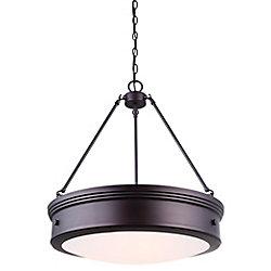 Canarm BOKU 4-light oil rubbed bronze chandelier with flat opal glass