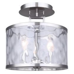Canarm CALA 3-light brushed nickel semi-flush mount with watermark glass