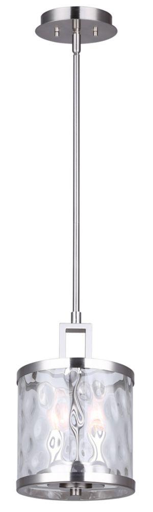 Canarm CALA 2-light brushed nickel rod pendant with watermark glass