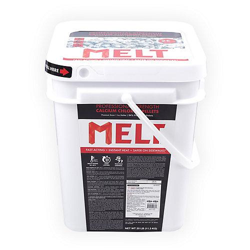 MELT 25 Lb. Bucket Calcium Chloride Pellets Professional Strength Ice Melter