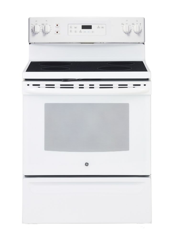 Free Standing Electric Self Cleaning Range In White