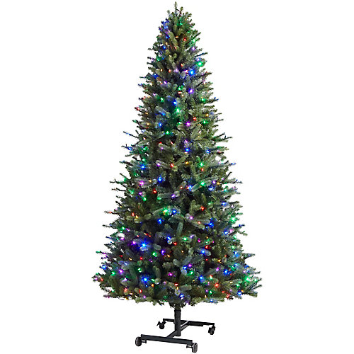 7 to 9 ft. Pre-Lit LED Virginia Grow & Stow Artificial Christmas Tree with 600 Color Changing Lights