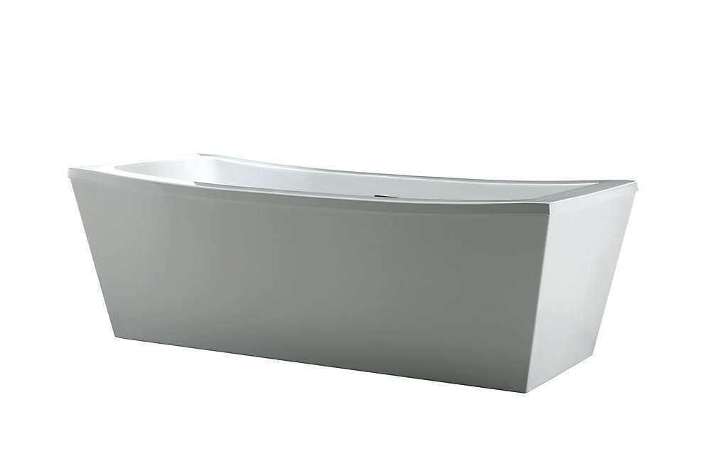 Eleanor 63-inch Freestanding Rectangular Bath Tub in White