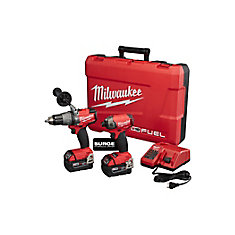 M18 FUEL 18V Lithium-Ion Brushless Cordless Surge Impact and Hammer Drill Combo Kit (2-Tool) w/ (2) 5.0Ah Batteries