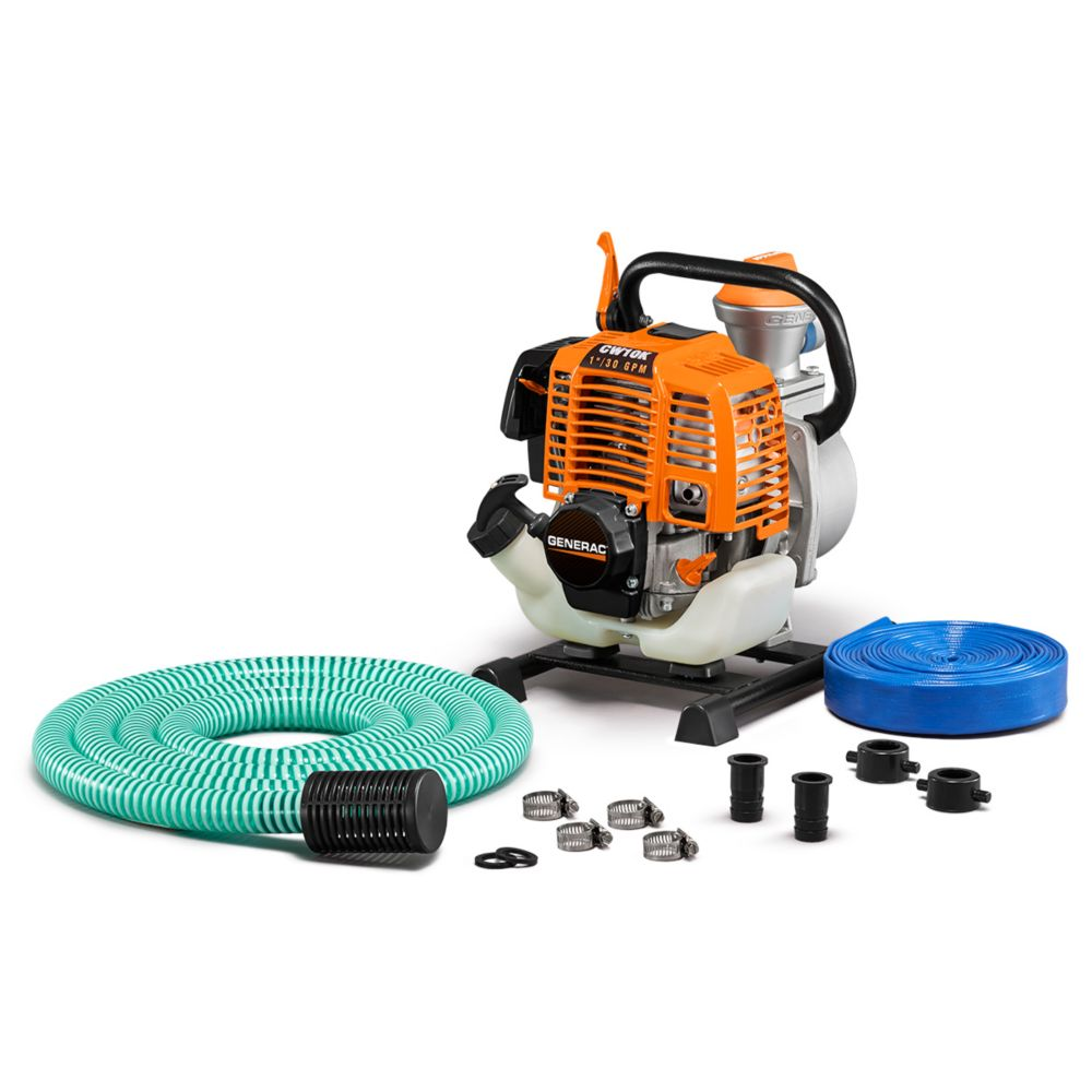 Generac 2HP 1 In. Gas Powered Clean Water Pump with Hose Kit 6917