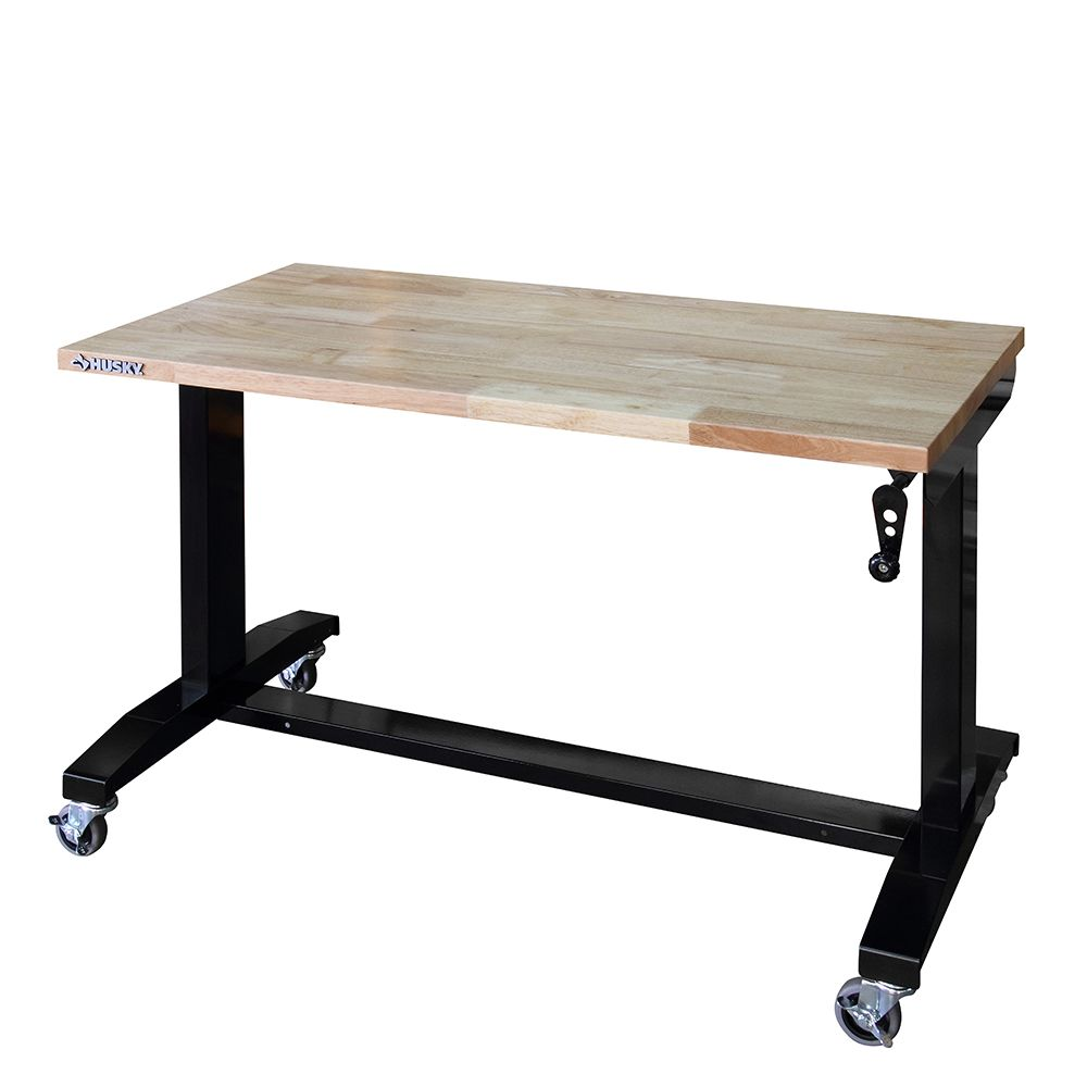 HUSKY 46-inch W x 24-inch D Adjustable Height Workbench Table in Black