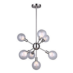 Canarm Healey 7-Light Rod Pendant Light Fixture in Brushed Nickel with Double Glass