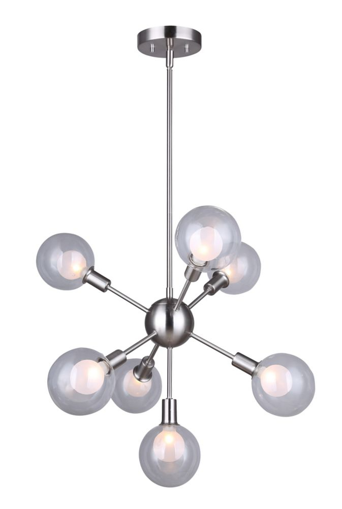 Canarm HEALEY 7-light brushed nickel rod pendant with double glass