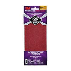 3.7X9 Sanding Sheets 220 Grit, (6-Pack)