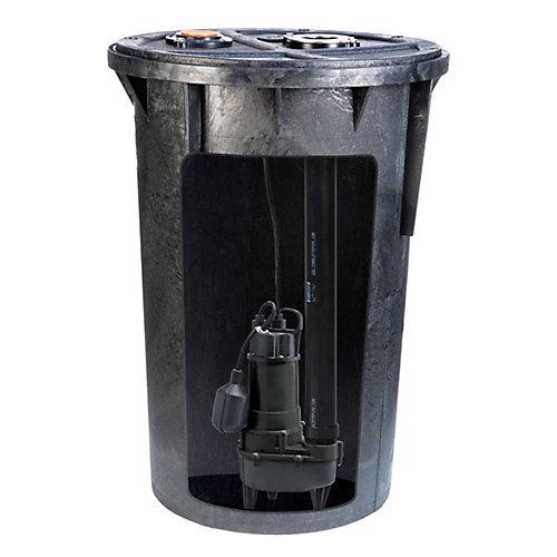 Système de bassin de pompe à eaux usées de 1/2 HP