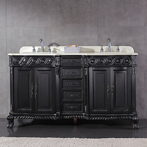 Trent 60-inch W x 21-inch D Vanity in Antique Black with Engineered Marble Vanity Top in White