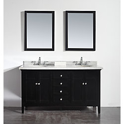 Ove Decors Reni 60-inch W Vanity in Espresso with Granite Vanity Top in Speckled Grey with White Basin