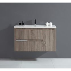 Ove Decors Davidci 39.37-inch W 2-Drawer 1-Door Wall Mounted Vanity in Grey With Acrylic Top in White