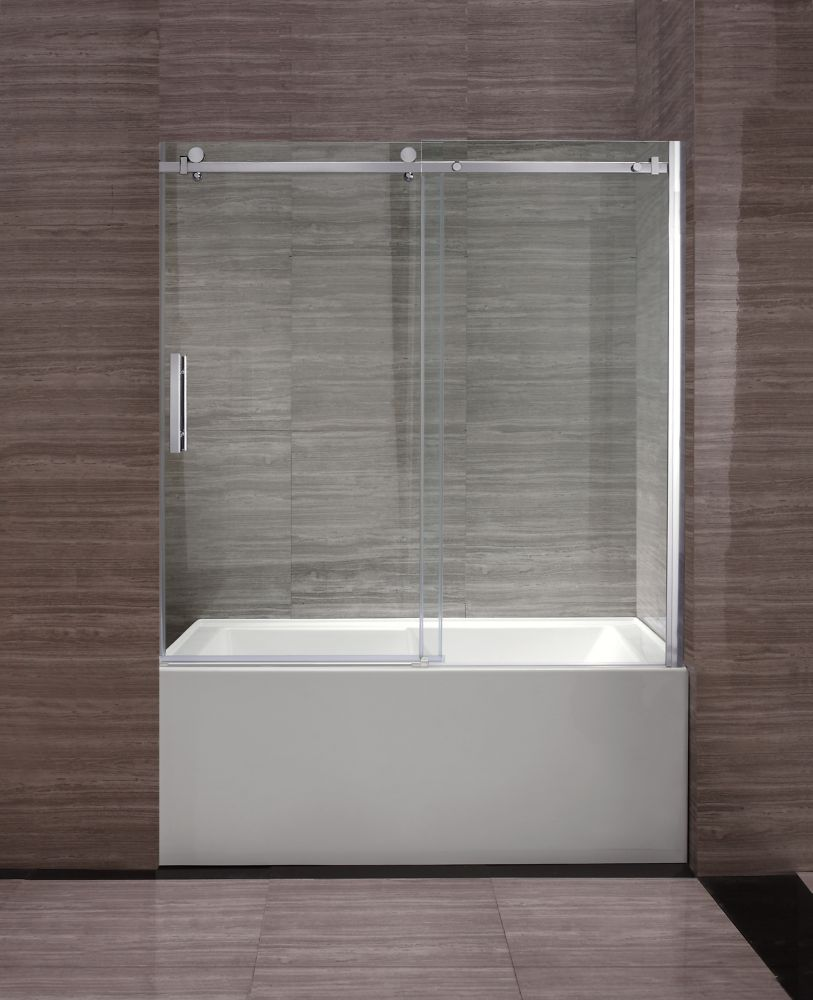 Ove Decors Park 59-inch x 59-inch Semi-Framed Rectangular Sliding Clear Shower Door with Chrome Hardware