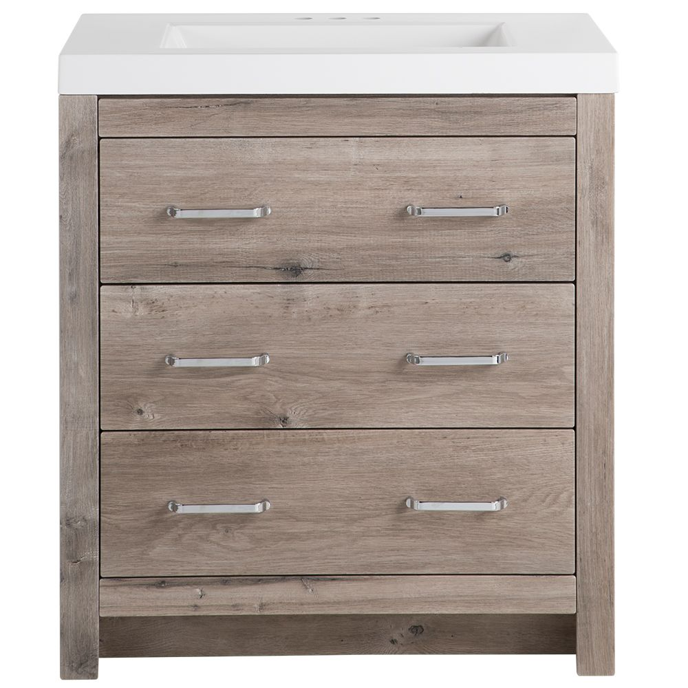 GLACIER BAY Woodbrook 30.5 in. W x 19 in. D Vanity in White-Washed Oak with Cultured Marble Vanity Top in White with White Basin