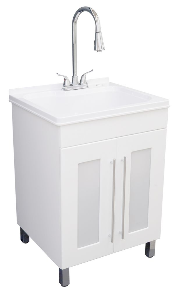 GLACIER BAY All-In-One Laundry Sink and Cabinet in White