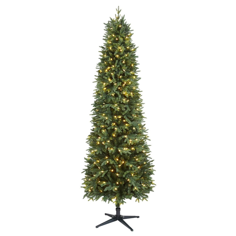 Home Accents Holiday 7.5 ft. Pre-Lit LED Shelton Slim Artificial Christmas Tree with 350 Warm White Lights