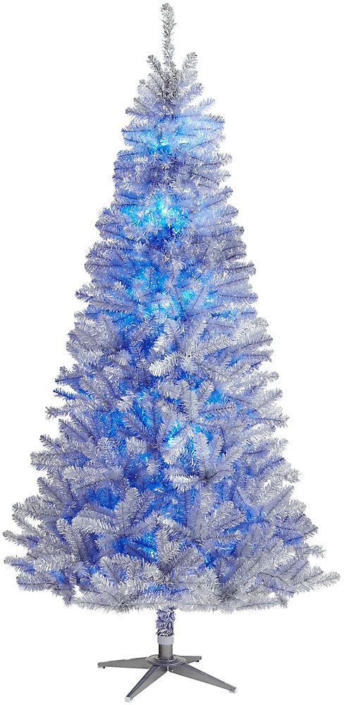 Arbre de Noël artificiel illuminé style rétro Quick Set télécommandé avec roue de couleurs, 7,5 pi