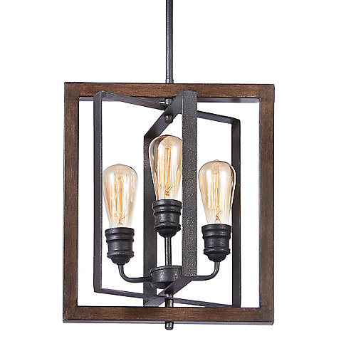 Palermo Grove Collection 3-Light Gilded Iron Pendant Fixture