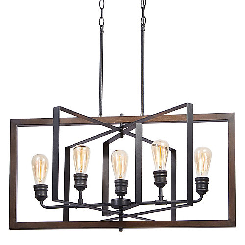 Palermo Grove Collection 5-Light Chandelier in Gilded Iron with Walnut Accents