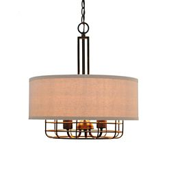 Home Decorators Collection Luminaire suspendu, bronze, 3 ampoules, 60 W, abat-jour en tissu gris