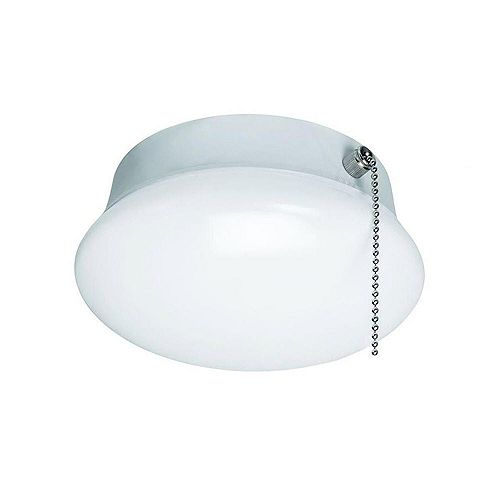 Commercial Electric Spin Light 7 inch White LED Flush Mount Ceiling Light with Pull Chain 810 Lumens 3000K 4000K 5000K