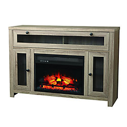 Home Decorators Collection Laurelcrest 48 Inch Fireplace Console In Weathered Oak Finish