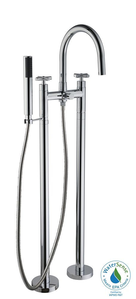 GLACIER BAY 2-Handle Floor Mount Tub Filler Faucet and Hand Shower in Polished Chrome