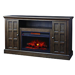 Home Decorators Collection Olivehurst 60 Inch Fireplace Console In Brown Twilight Gray Finish