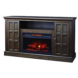 Home Decorators Collection Console avec foyer Olivehurst de 60 po avec finition brun crépuscule gris